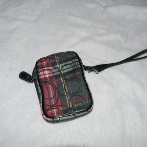 Black Canvas Plaid Phone Wristlet